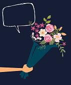 Handing a Bouquet of Flowers