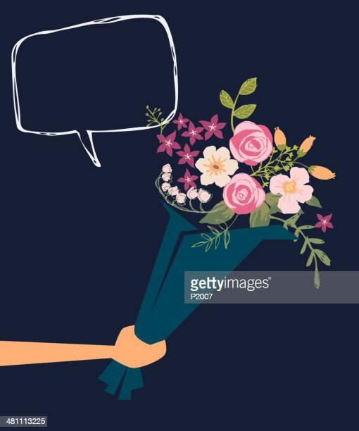 Ausführender einem Blumenstrauß