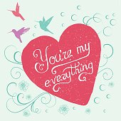 hand-lettered text with heart - vector illustration