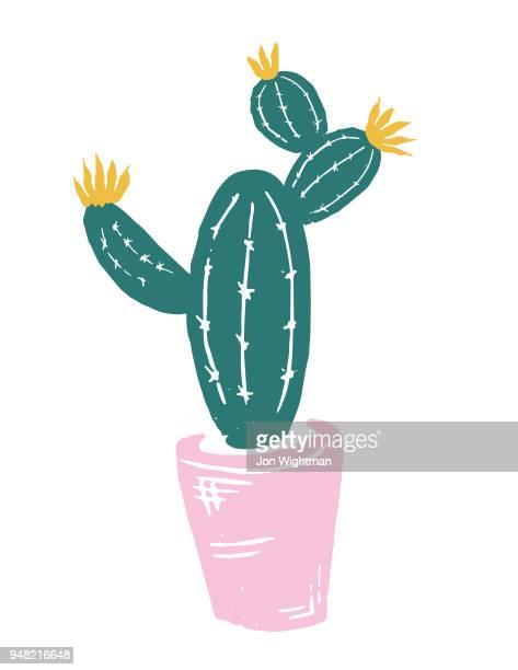 ilustrações de stock, clip art, desenhos animados e ícones de handmade cactus print - planta de vaso