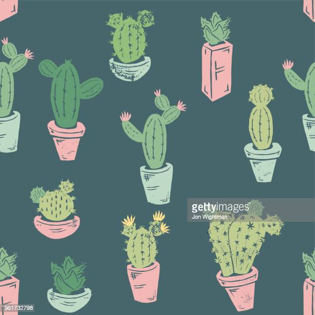 handmade cactus seamless pattern - images stock illustrations
