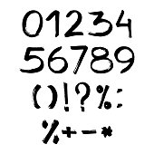 Handmade ink brush numbers 1,2,3,4,5,6,7,8,9,0. Vector calligraphy numerals and sign. Calligraphic illustration