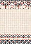 Handmade knitted background pattern with scandinavian ornaments.
