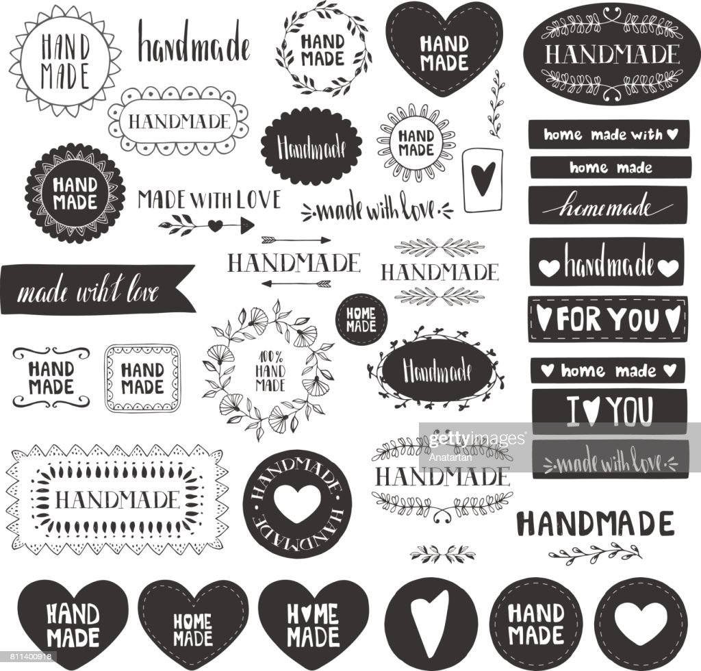 Handmade labels. Made with love icons. Vintage design elements. Vector. Isolated.