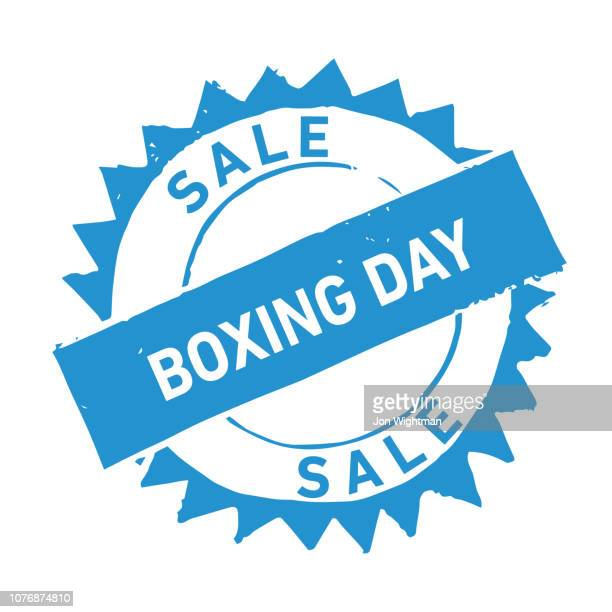"handmade linocut organic rubber stamp ""boxing day"" - national holiday stock illustrations"