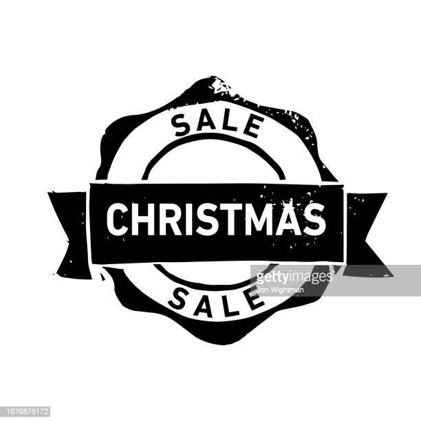 "handmade linocut organic rubber stamp ""christmas sale"" - sports round stock illustrations"
