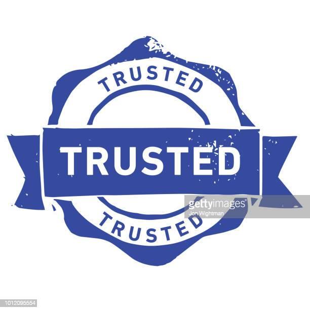 handgemachte linolschnitt vertrauenswürdige stempel - vertrauen stock-grafiken, -clipart, -cartoons und -symbole