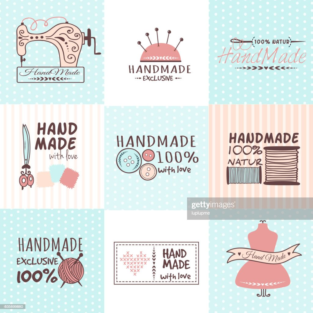Handmade needlework badges vector set.