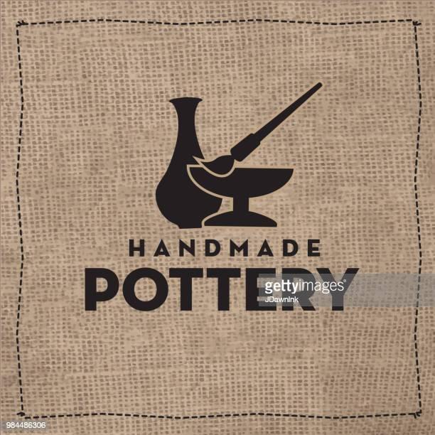 handmade pottery label design - pottery stock illustrations, clip art, cartoons, & icons