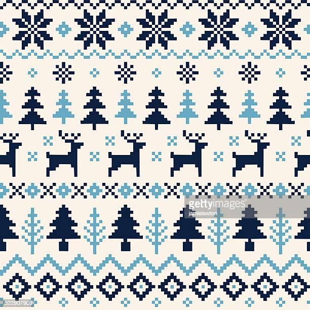 Handgefertigte nahtlose Weihnachten Muster mit Rentier Weihnachten Bäume und Schneeflocken