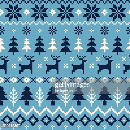 Handmade Seamless Christmas Pattern with Reindeer, Christmas Trees and Snowflakes
