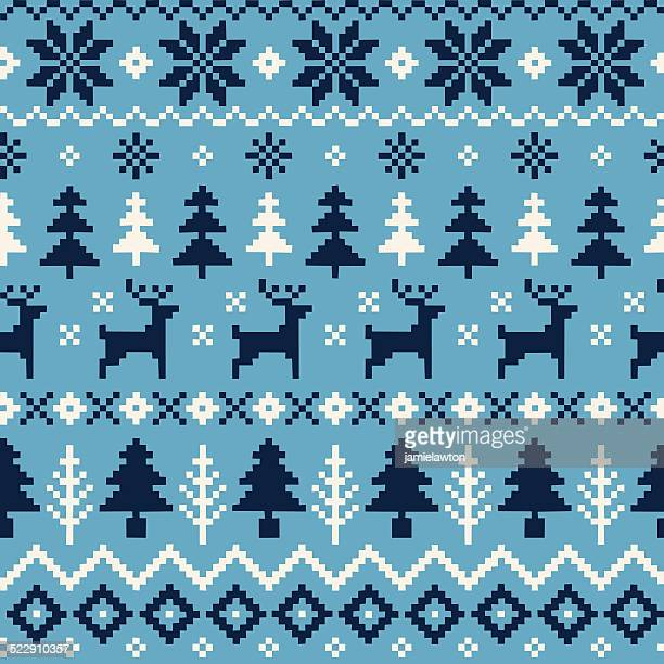 Handmade Seamless Christmas Pattern with Reindeer, Christmas Trees and Snowflakes