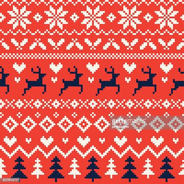 Handgefertigte nahtlose Weihnachten Muster mit Rentier, Herzen, Weihnachtsbäume und Schneeflocken