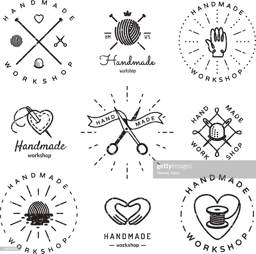 Handmade workshop logo vintage vector set. Hipster and retro style.