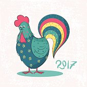 Hand-painted decorative rooster
