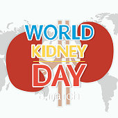 Hand-painted kidney and the inscription of the World Kidney Day