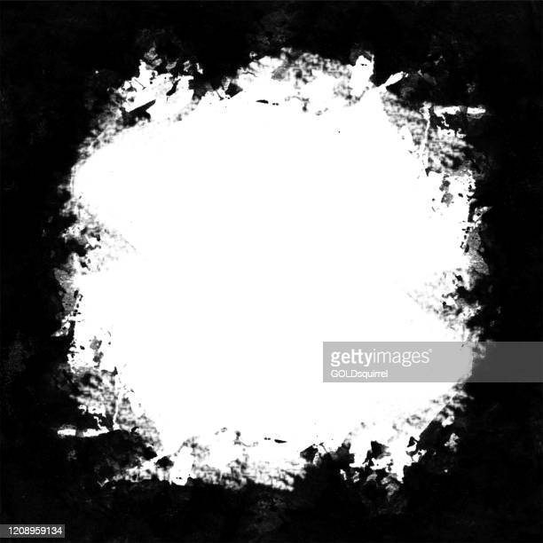handpainted uneven irregular big white hole in the middle of black background - abstract messy  vector illustration with jagged edges of the round spot - irregular texturizado stock illustrations