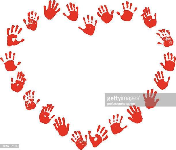 ilustraciones, imágenes clip art, dibujos animados e iconos de stock de huella de corazón - huella de mano