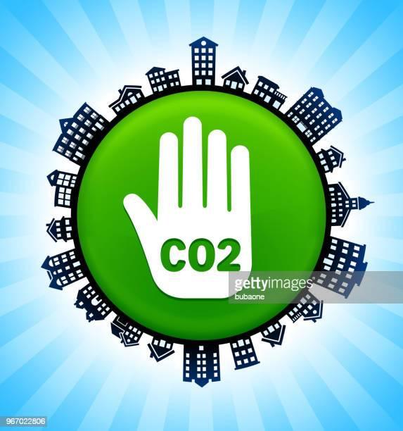 ilustraciones, imágenes clip art, dibujos animados e iconos de stock de co2 handprint en el fondo del horizonte de paisaje urbano rural - gas de efecto invernadero