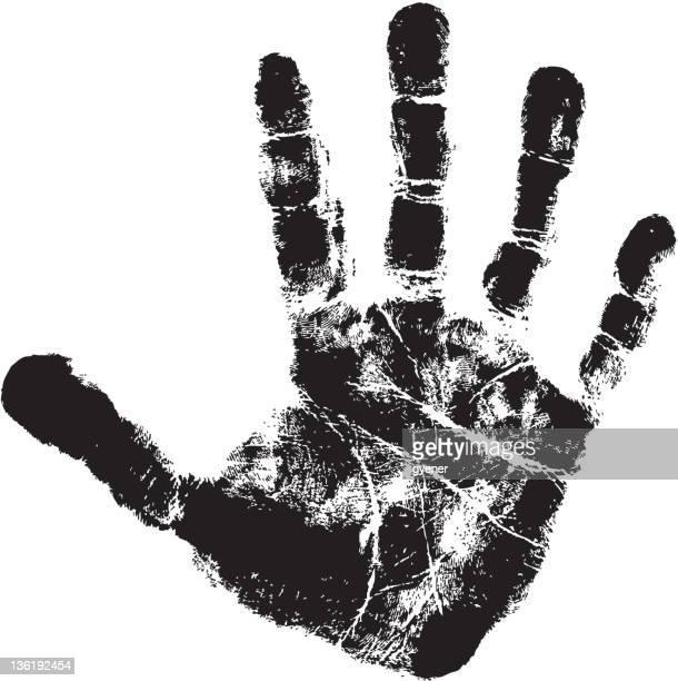 ilustraciones, imágenes clip art, dibujos animados e iconos de stock de huella de mano - huella de mano