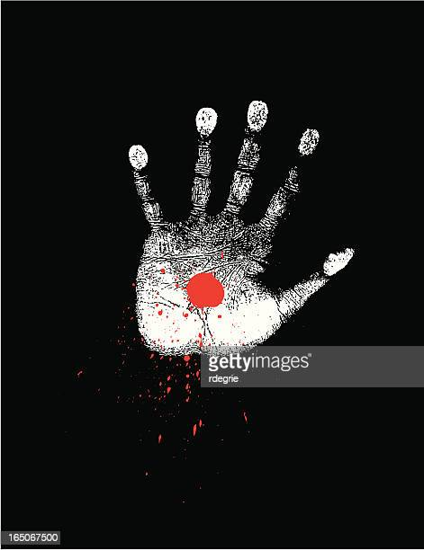 handprint with bloodspot - the crucifixion stock illustrations, clip art, cartoons, & icons