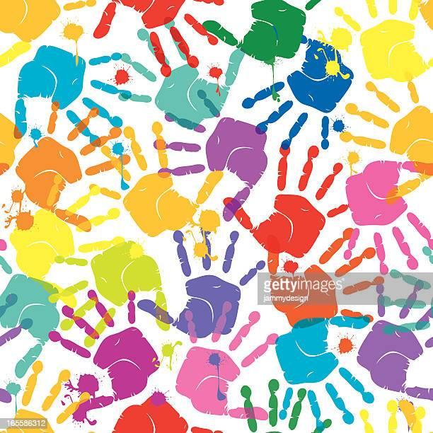 ilustraciones, imágenes clip art, dibujos animados e iconos de stock de handprints patrón sin costuras - huella de mano