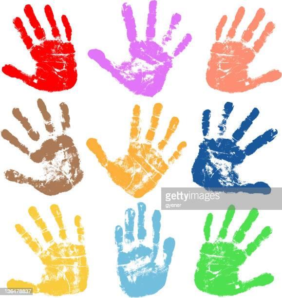 handprints - finger painting stock illustrations