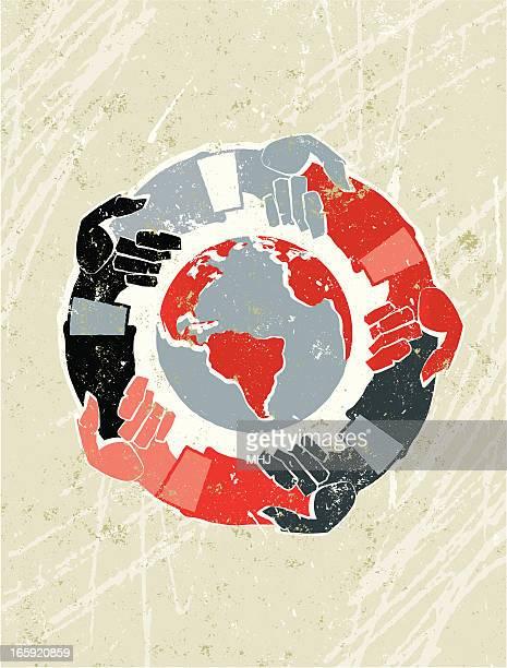 ilustraciones, imágenes clip art, dibujos animados e iconos de stock de manos en todo el mundo - mano humana