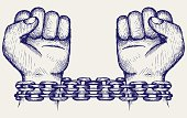Hands chained in a chain