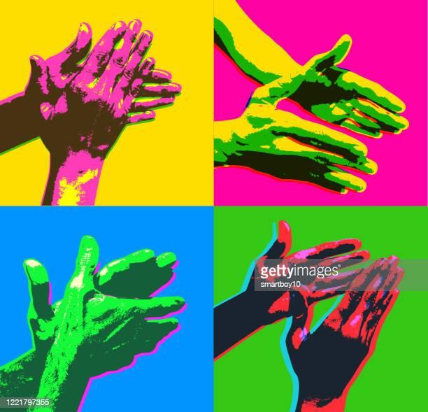 illustrazioni stock, clip art, cartoni animati e icone di tendenza di mani che applaudeno - musica pop