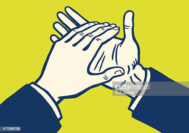 hands clapping - applauding stock illustrations, clip art, cartoons, & icons