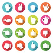 Hands Colorful Icons Long Shadow Flat Design