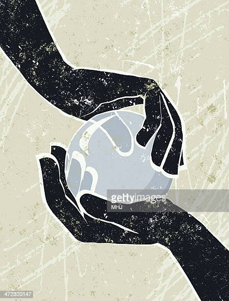 hand's cradling a crystal ball. - silk screen stock illustrations