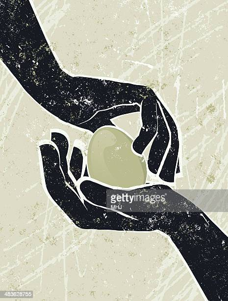 illustrazioni stock, clip art, cartoni animati e icone di tendenza di concentrato di un uovo mano - mani incrociate