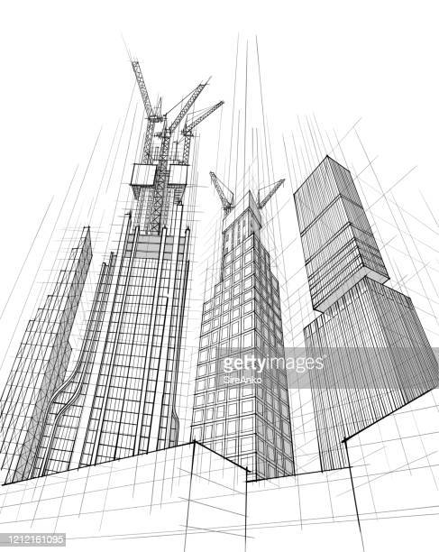 hands drawing black and white architecture - urban sprawl stock illustrations