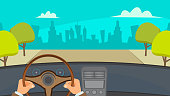 Hands Driving Car Vector. City Traffic Jam. Urban Background. Flat Illustration