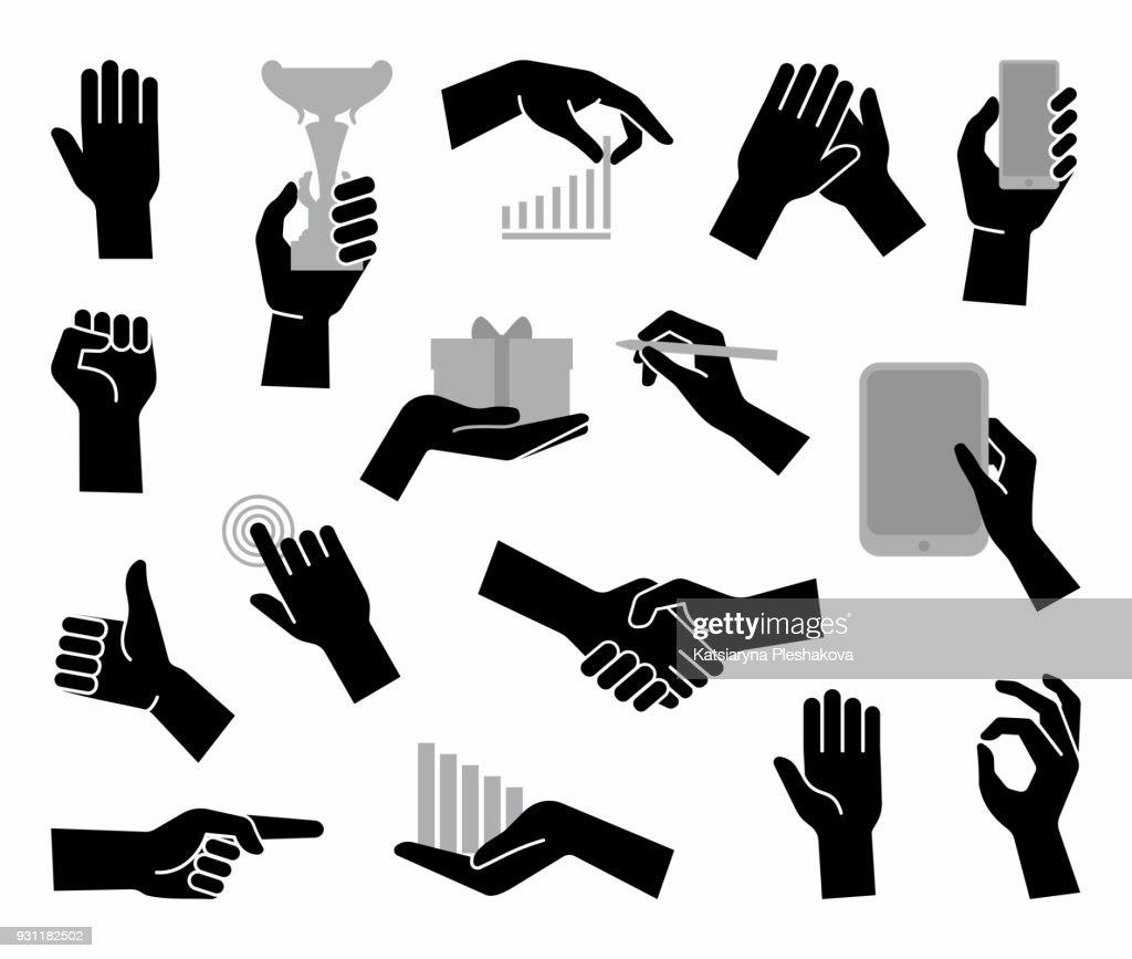 Hands. Flat business symbol
