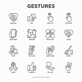Hands gestures thin line icons set: handshake, easy sign, single tap, 2 finger tap, holding smartphone, teamwork, mutual help, swipe, insert credit card, prayer, thumbs up. Modern vector illustration.