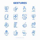 Hands gestures thin line icons set: handshake, easy sign, single tap, 2 finger tap, holding smartphone, teamwork, mutual help, swipe, insert credit card, prayer, peace. Modern vector illustration.