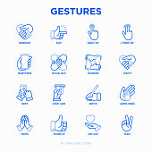 Hands gestures thin line icons set: handshake, easy sign, single tap, 2 finger tap, holding smartphone, teamwork, mutual help, swipe, insert credit card, prayer, peace. Modern vector illustration.