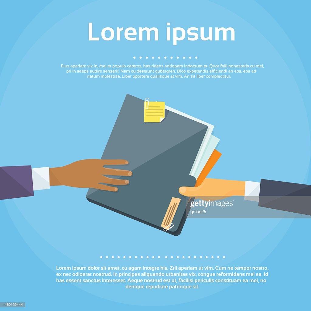 Hands Give Folder Document Papers, Concept Businessmen Share