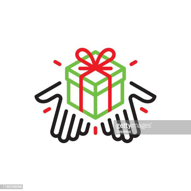 hands giving a gift box - giving stock illustrations