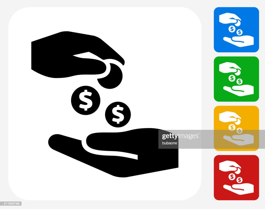 Hands Giving Money Icon Flat Graphic Design