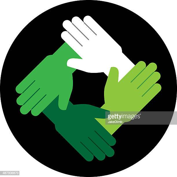 hands green icon - respect stock illustrations