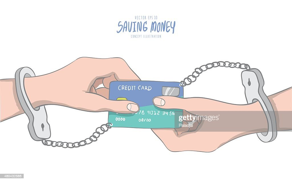 Hands Handcuffed Tethered To Credit Card Shaped Like Infinity