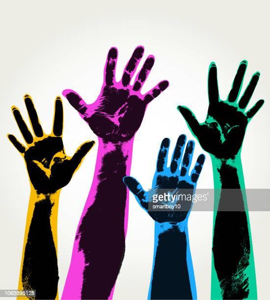 ilustraciones, imágenes clip art, dibujos animados e iconos de stock de manos en alto - huella de mano