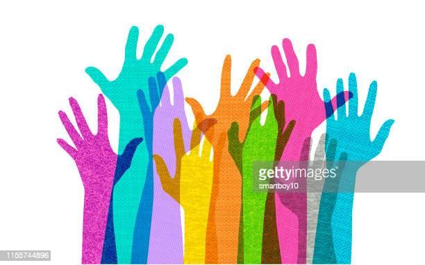 hands held high - community stock illustrations