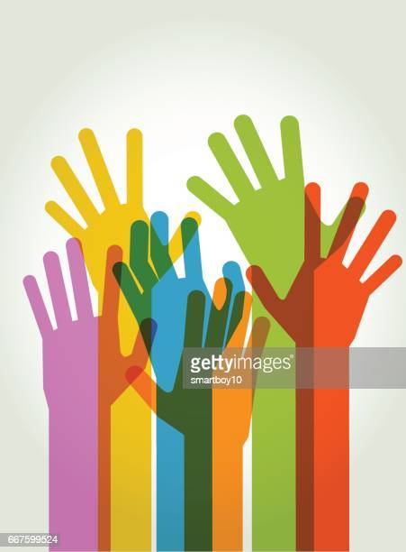 Hände, die hohe