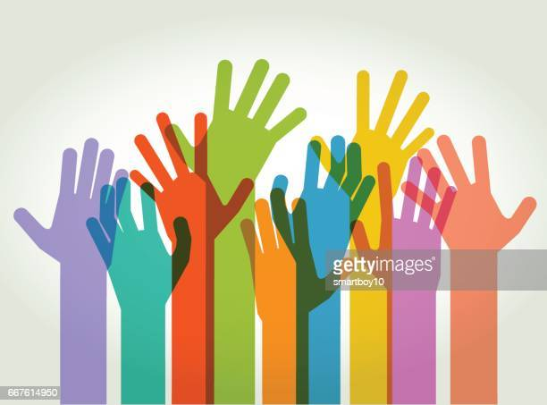 hands held high - protest stock illustrations, clip art, cartoons, & icons