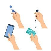 Hands hold flash drive, mobile phone, usb plug, credit card.